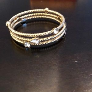 Jewelry - Gold coil bangles with CZ embellishments